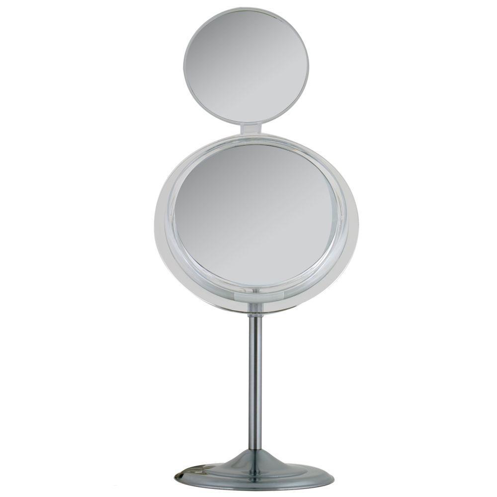 Zadro Surround Light 7X/5X Adjustable Pedestal Vanity Mirror in Satin Nickel-DISCONTINUED