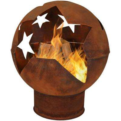 Starry Night 32 in. x 38 in. Sphere Steel Wood Burning Fire Pit