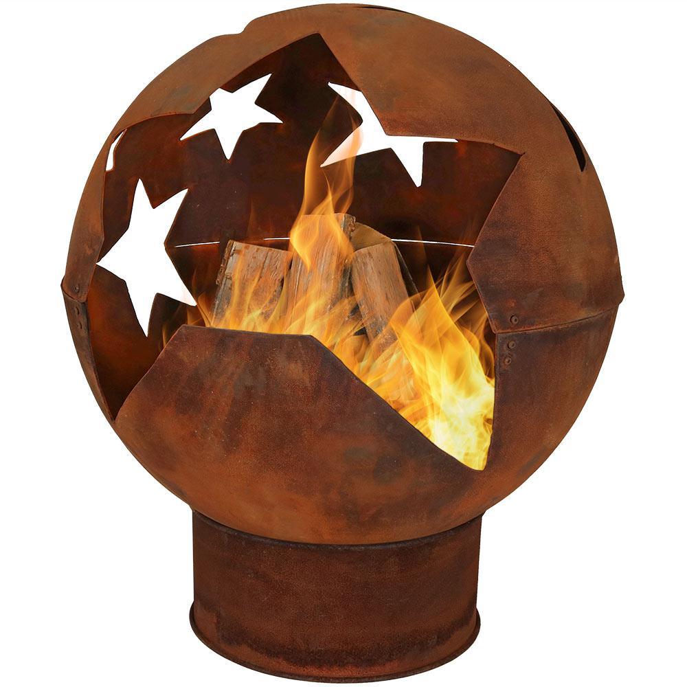 Starry Night 32 in. x 38 in. Sphere Steel Wood Burning Fire Pit