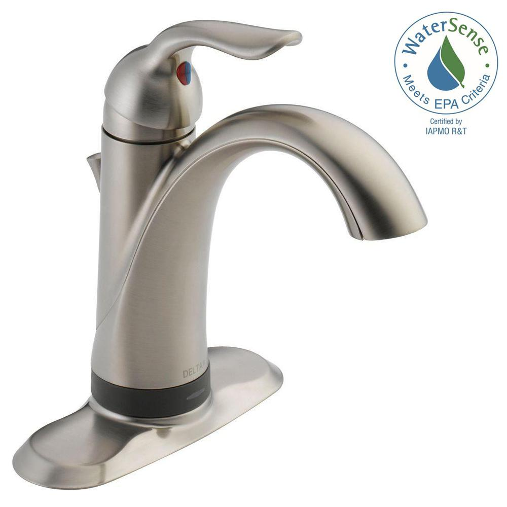 Delta Lahara Single Hole Single-Handle Bathroom Faucet with Touch2O ...