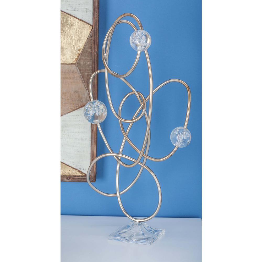 23 in. Loops and Spheres Decorative Sculpture in Gold