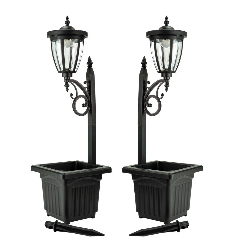 Kambria 29 in. Black Multi-Function Outdoor Solar Lamp Post and Planter