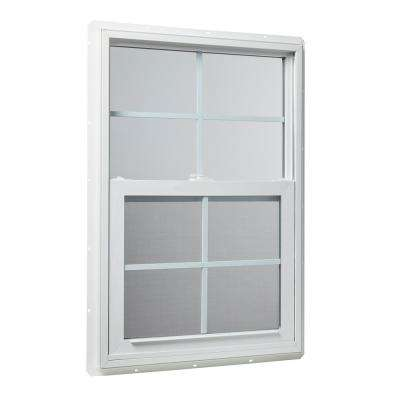 23.5 in. x 35.5 in. Single Hung Vinyl Window Insulated with Grids in White