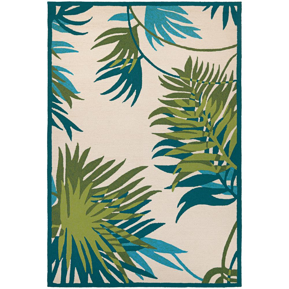 Covington Jungle Leaves Ivory-Forest Green 8 ft. x 11 ft. Indoor/Outdoor