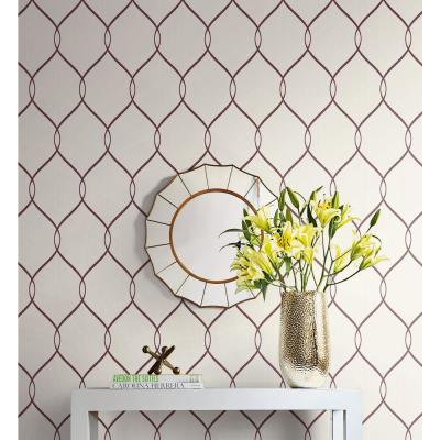 Ogee Ribbon Metallic Pearl and Maroon Contemporary Wallpaper