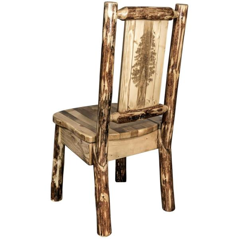 Glacier Brown Wooden Laser Engraved Pine Motif Side Chair