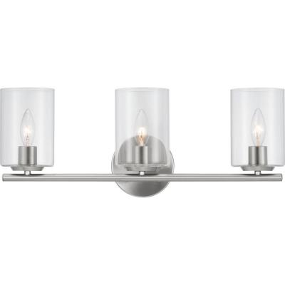 Carabella 5 in. 3-Light Brushed Nickel Vanity Light with Clear Glass Shades