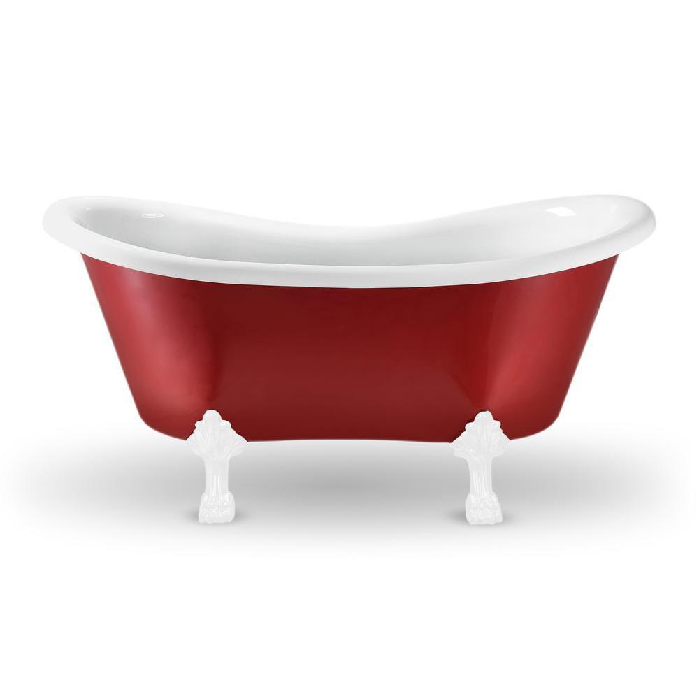 62.2 in. Acrylic Fiberglass Clawfoot Non-Whirlpool Bathtub in Red
