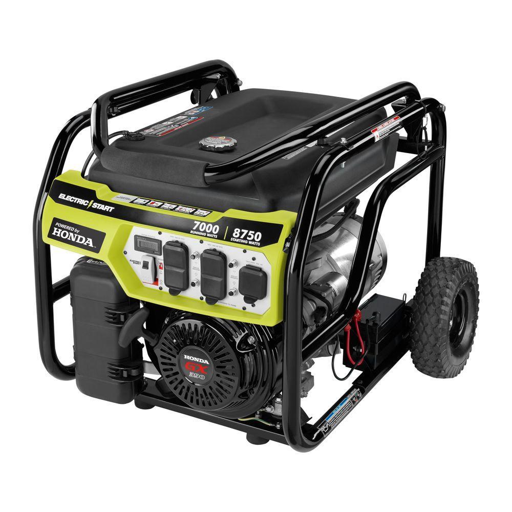 Ryobi 7 000 Watt Gasoline Powered Electric Start Portable