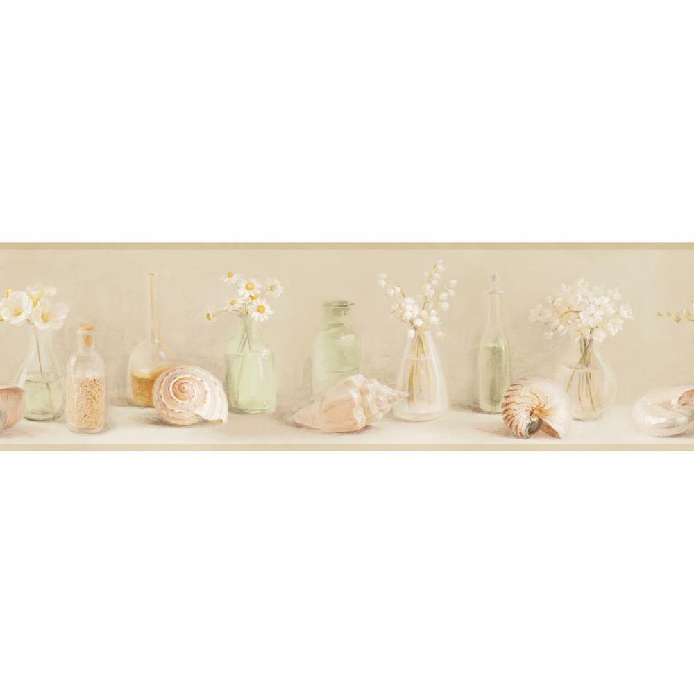Glass Wallpaper: Chesapeake Cahoon Sea Glass Wallpaper Border-DLR53602B