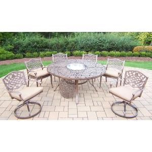 Click here to buy  9-Piece Aluminum Outdoor Dining Set with Sunbrella Beige Cushions and Stainless Steel Ice....