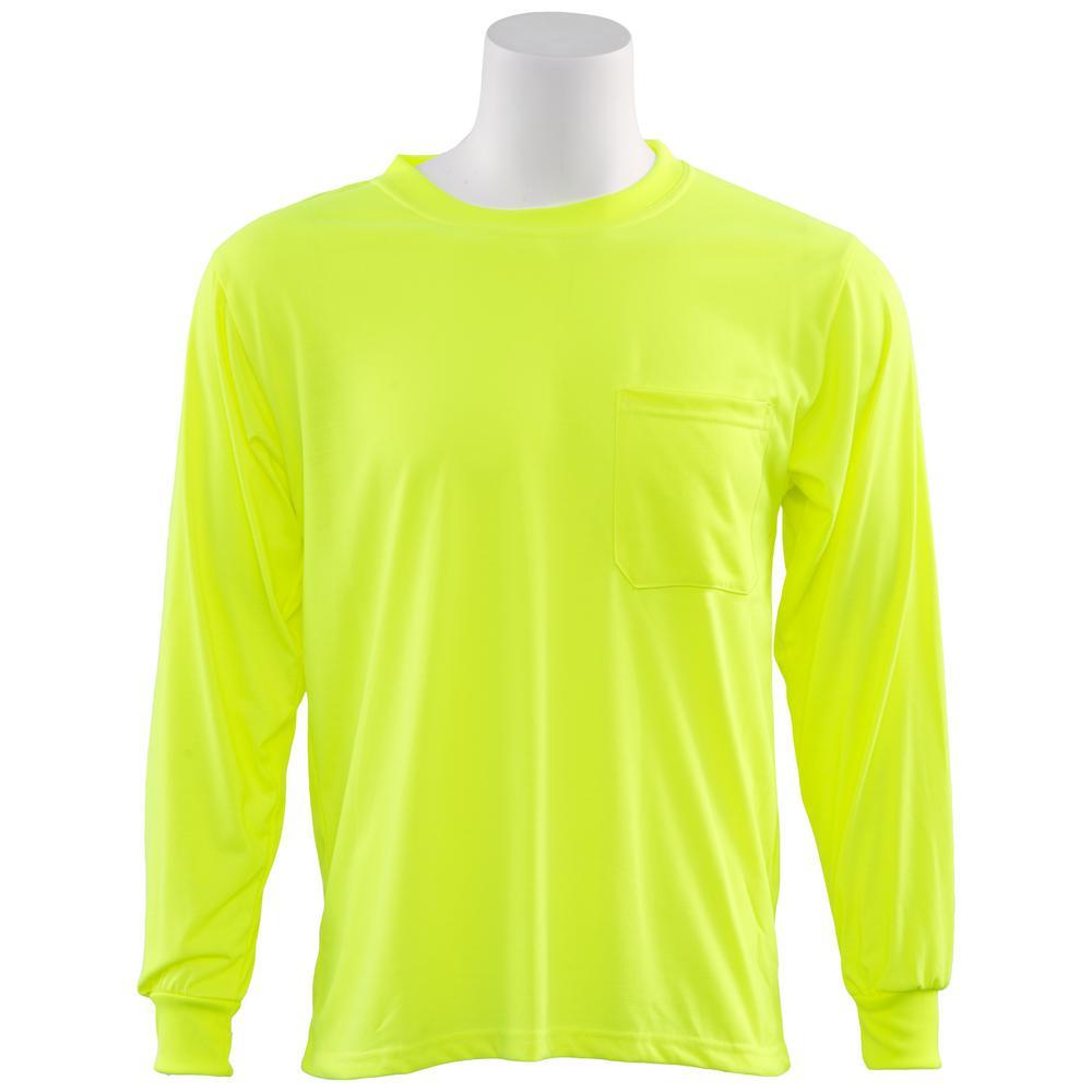 ERB 9602 4X Non-ANSI Long Sleeve Hi Viz Lime Unisex Poly Jersey T-Shirt