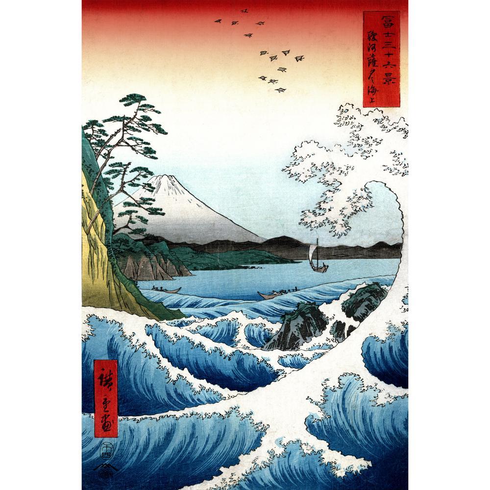 """19.5 in. x 29.5 in. """"Crashing Waves Ukiyo-e by Hiroshige """" Wall Art"""