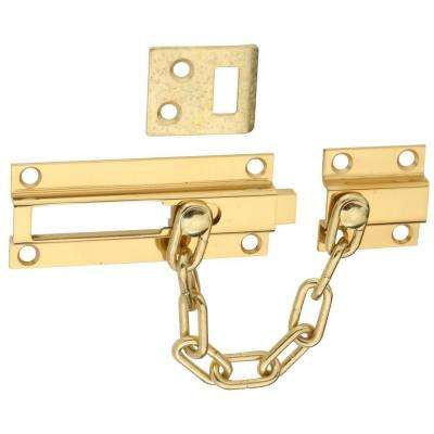 Solid Brass Deadbolt Chain Guard in Polished Brass