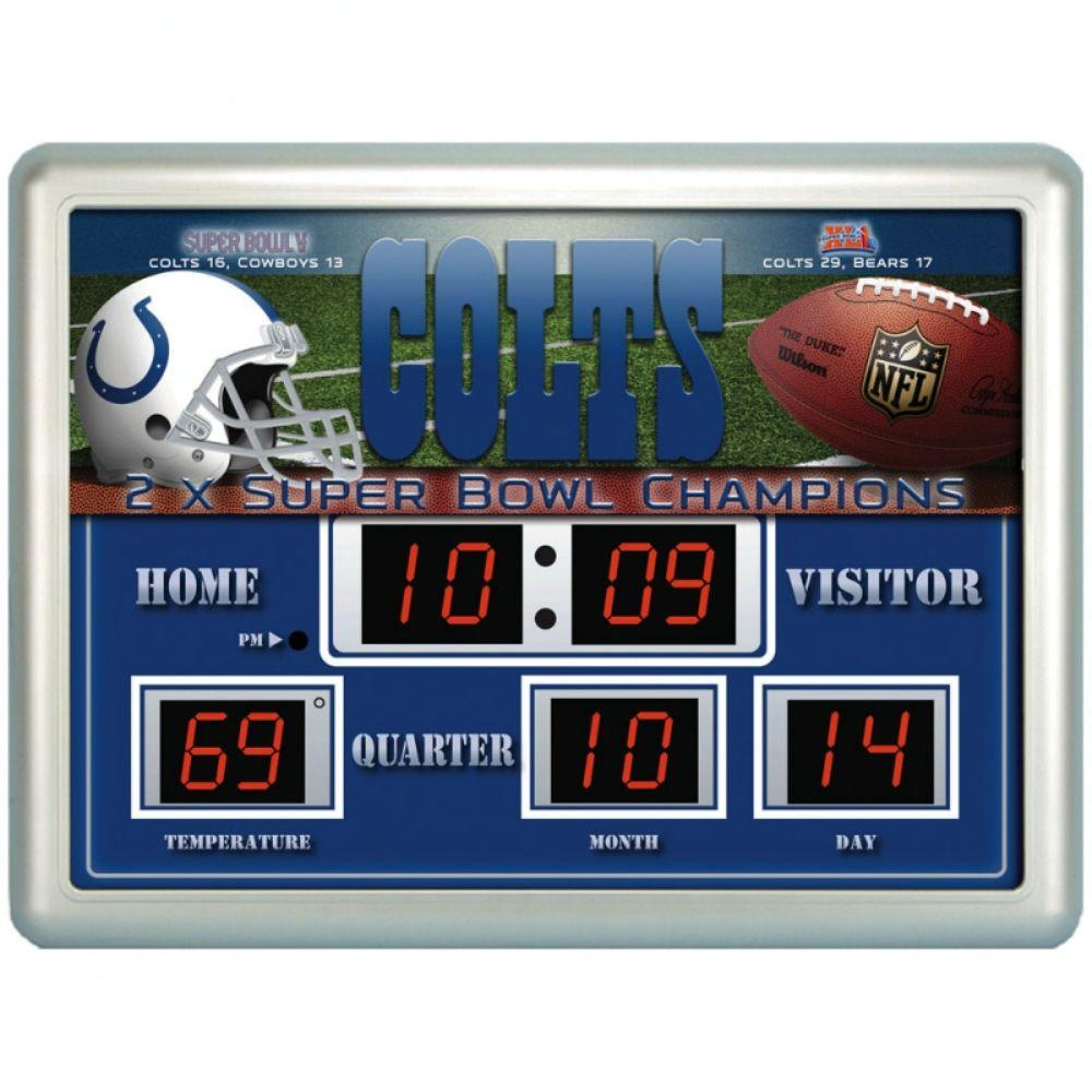 null Indianapolis Colts 14 in. x 19 in. Scoreboard Clock with Temperature