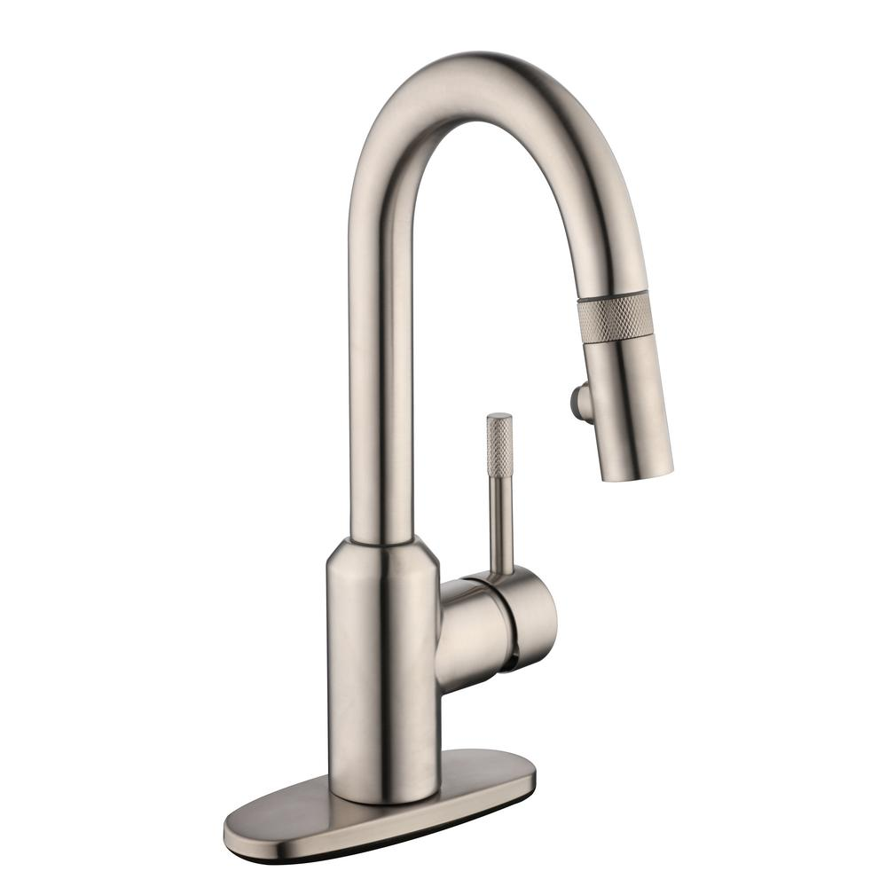 2600 Series Single-Handle Pull-Down Sprayer Laundry Faucet in Stainless Steel