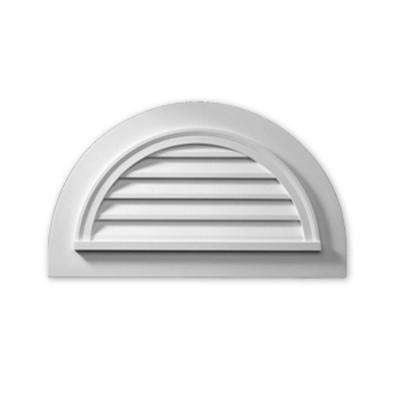 43 in. x 25 in. x 2 in. Polyurethane Functional Half Round Louver Gable Vent with Flat Trim