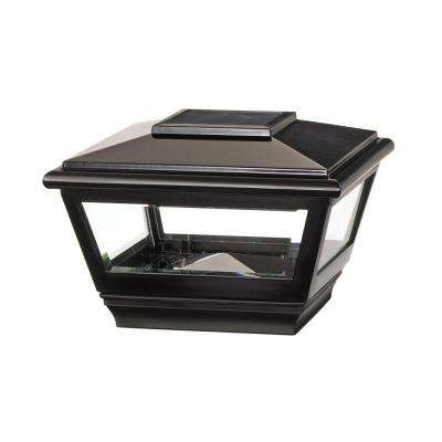 4 in. x 4 in. Black Vinyl Solar Light Post Cap with Black Base