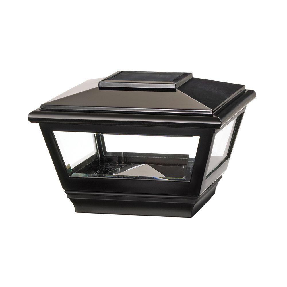 4 in. x 4 in. Black Vinyl Solar Light Post Cap with Black Base