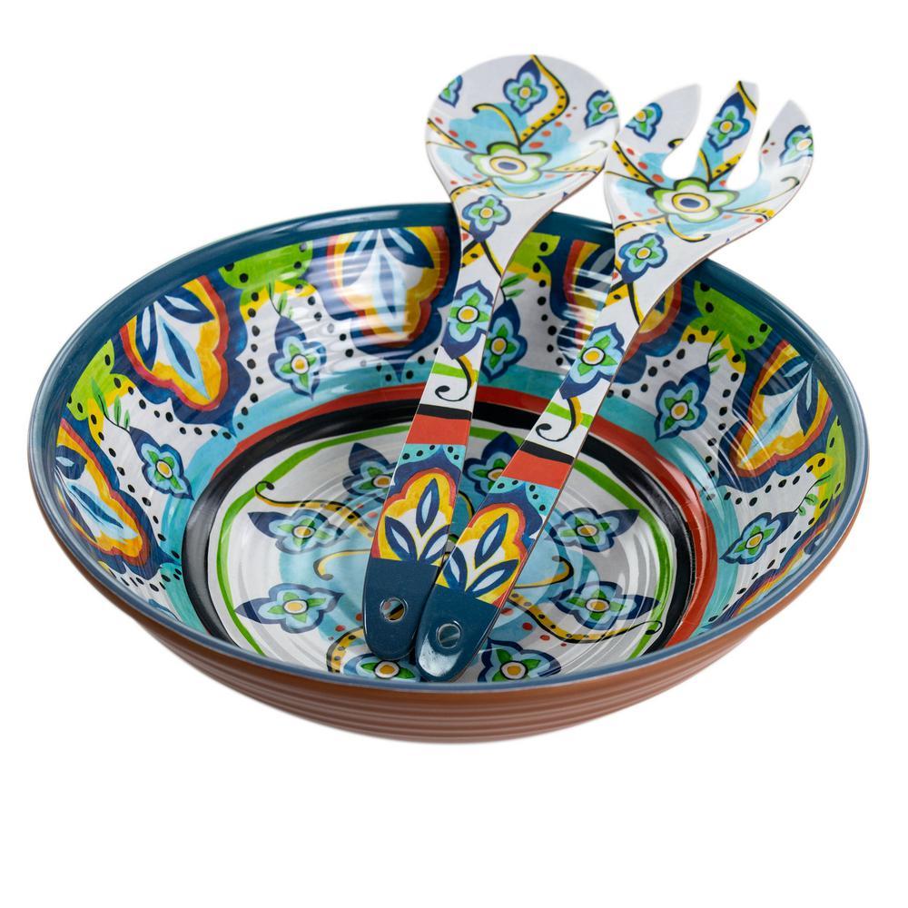 100 fl. oz. Spanish Terrace Lightweight Melamine Salad Bowl (Set of 3)