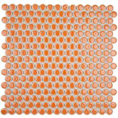 Bliss Edged Penny Round Polished Mango Ceramic Mosaic Floor and Wall Tile - 3 in. x 6 in. Tile Sample