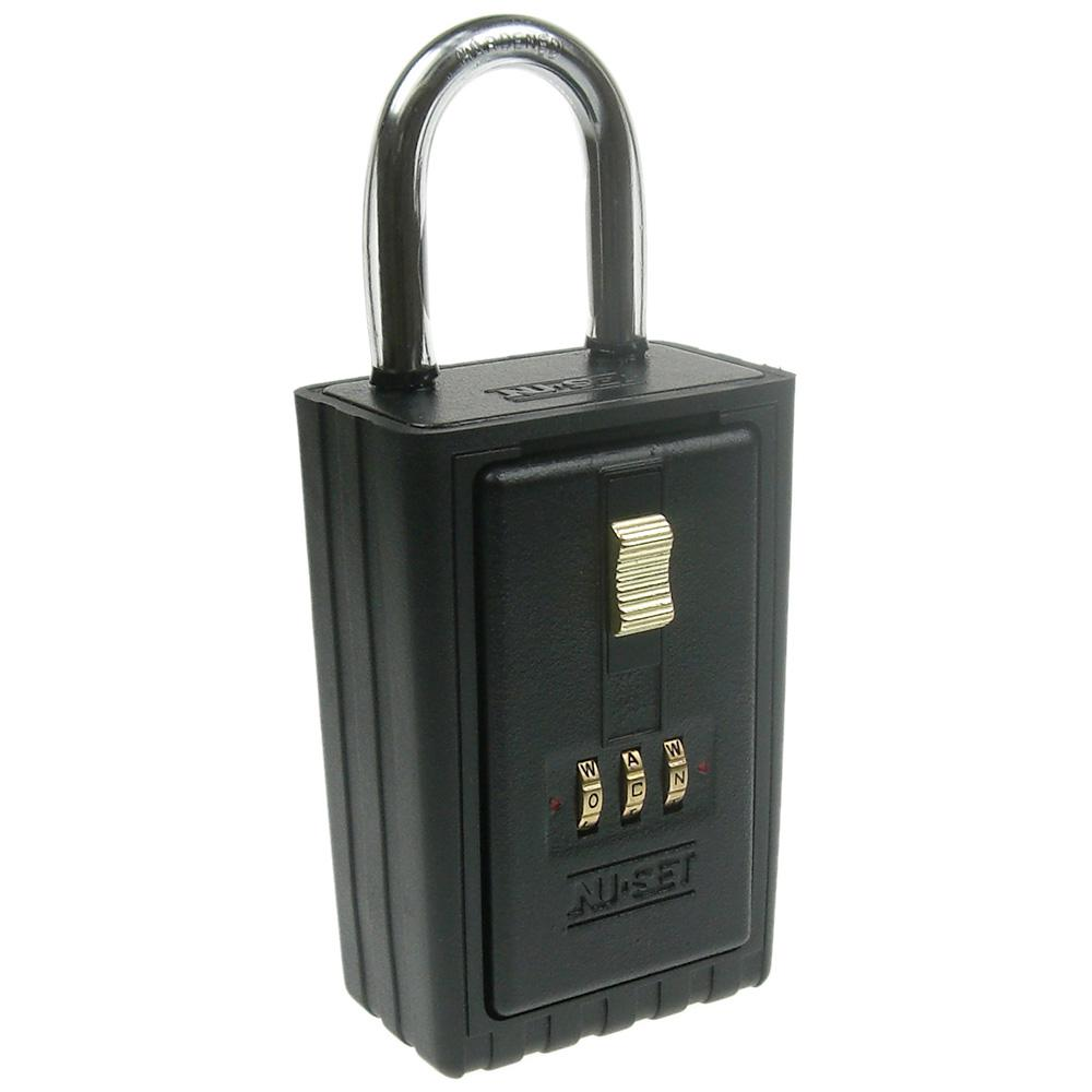 NUSET 3 Letter Alpha Combination Lock Box with Self Scrambling Dials