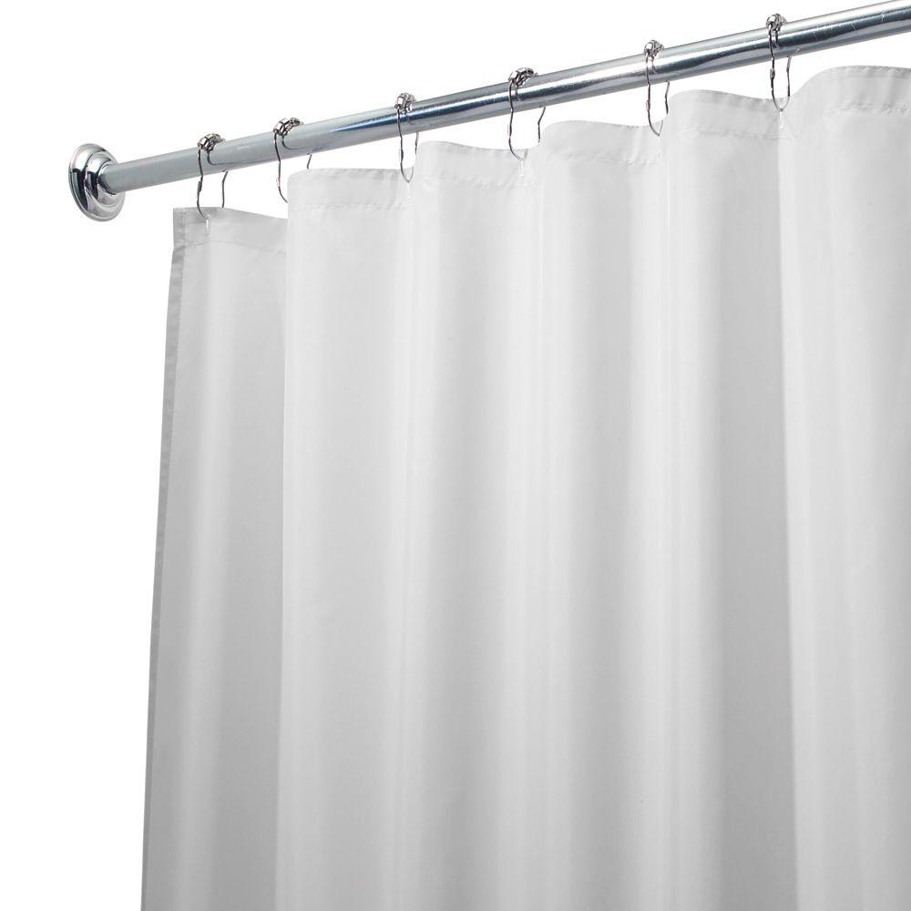 Poly Waterproof Long Shower Curtain Liner In White