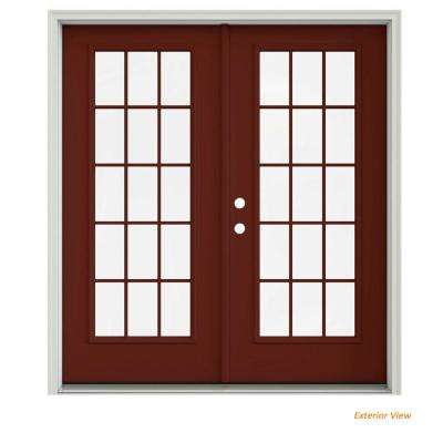 72 in. x 80 in. Mesa Red Painted Steel Right-Hand Inswing 15 Lite Glass Stationary/Active Patio Door