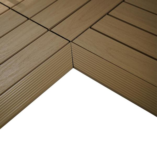 1/6 ft. x 1 ft. Quick Deck Composite Deck Tile Inside Corner Fascia in Japanese Cedar (2-Pieces/Box)