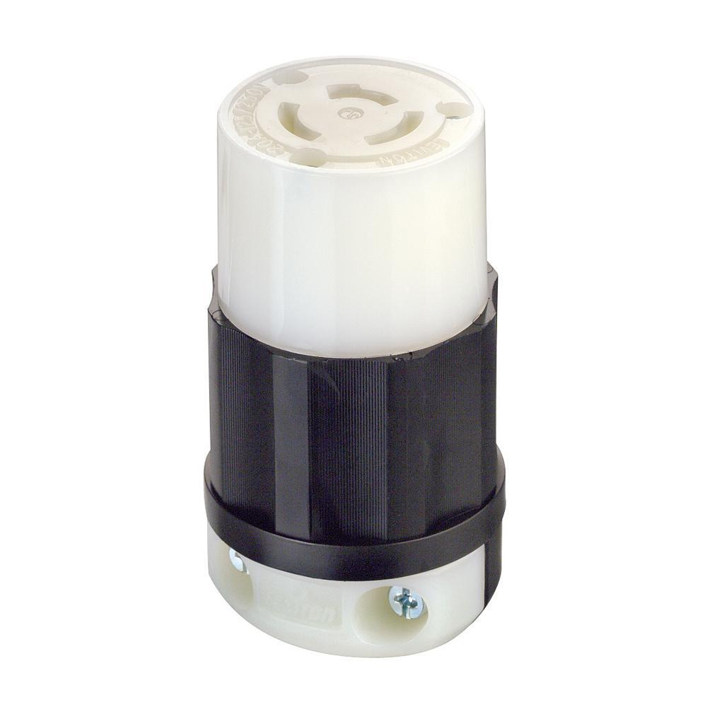20 Amp 125/250-Volt Locking Non-Grounding Connector, Black/White