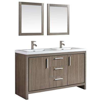 Miami 60 in. W x 19.5 in. D x 36 in. H Vanity in Grey Pine with Acrylic Vanity Top in White, White Basins and Mirrors