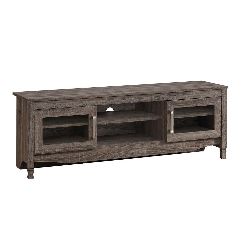 Superbe Techni Mobili Gray Driftwood With Shelving And Storage Cabinet TV Stand