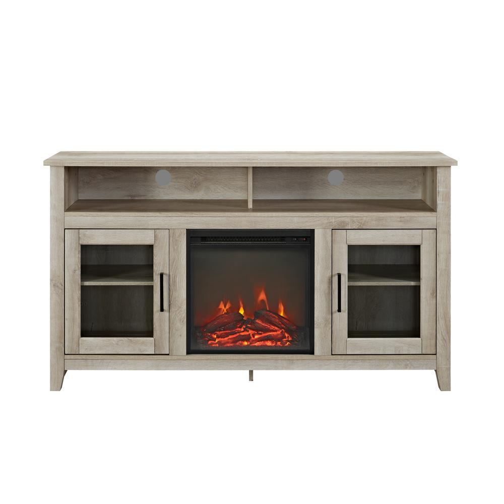 58 in. White Oak Console Wood Highboy Fireplace Media TV Stand