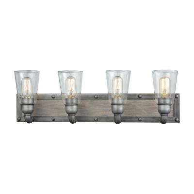 Platform 4-Light Weathered Zinc with Washed Wood and Clear Glass Bath Light