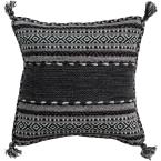 Ganale Black Striped Polyester 20 in. x 20 in. Throw Pillow