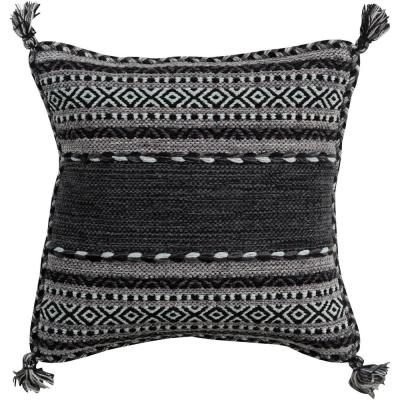 Ganale Black Striped Polyester 22 in. x 22 in. Throw Pillow