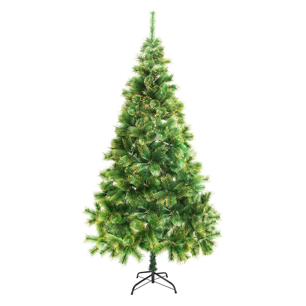 ALEKO 8 ft. Unlit Artificial Christmas Tree with Golden ...