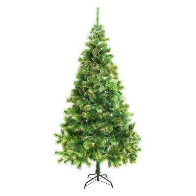 8 ft. Unlit Artificial Christmas Tree with Golden Tips