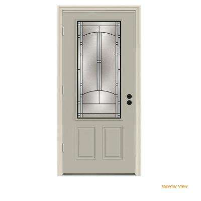 36 in. x 80 in. 3/4 Lite Idlewild Desert Sand Painted Steel Prehung Right-Hand Outswing Front Door w/Brickmould