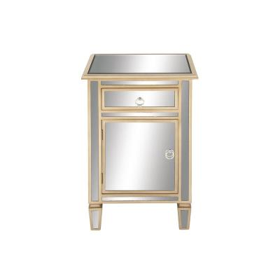 Beige Modern Wood and Mirror Side Cabinet