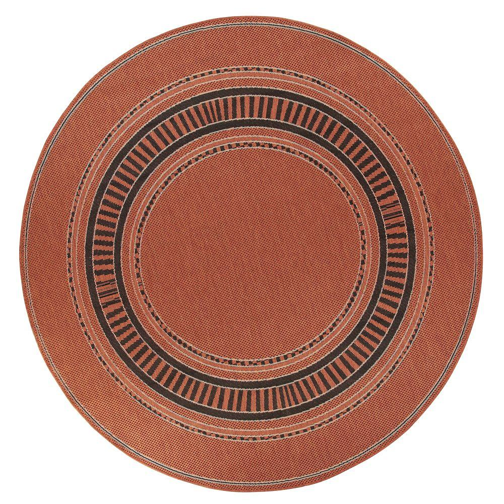 Pueblo Design Terra Cotta/Black 8 ft. 6 in. Round Area Rug