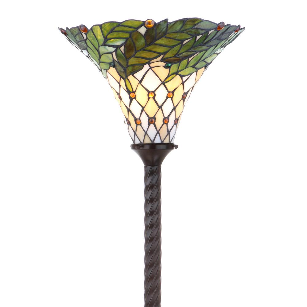 Lovely JONATHAN Y Botanical Tiffany Style 71 In. Bronze Torchiere Floor Lamp