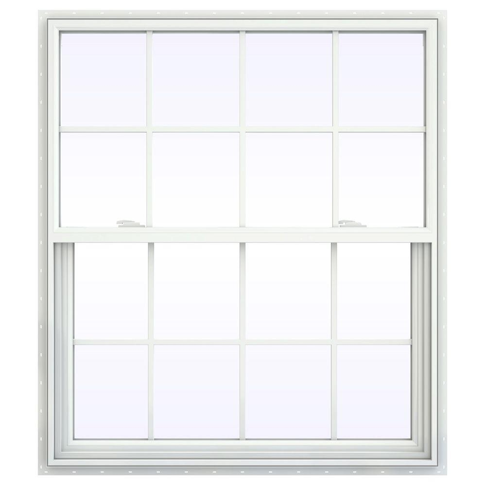 JELD-WEN 41.5 in. x 53.5 in. V-2500 Series Single Hung Vinyl Window with Grids - White