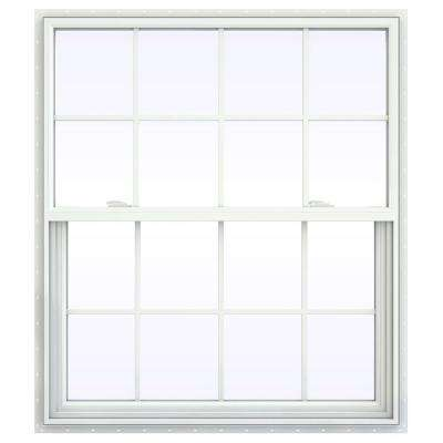 41.5 in. x 53.5 in. V-2500 Series White Vinyl Single Hung Window with Colonial Grids/Grilles