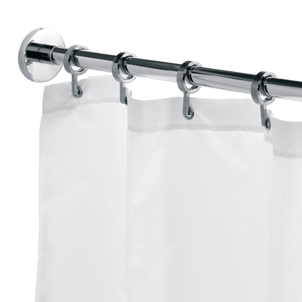Croydex Round 98.4 in. L Luxury Shower Curtain Rod with Curtain ...