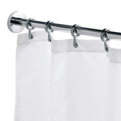 Round 98.4 in. L Luxury Shower Curtain Rod with Curtain Hooks in Chrome