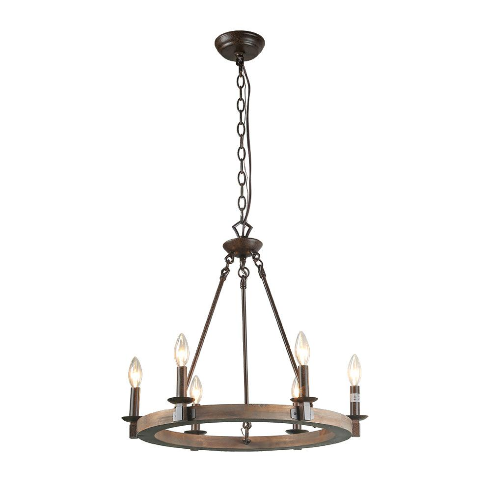 Flavio 6 Light Wagon Wheel Chandelier: LNC 6-Light Bronze Wood Chandelier-A03300