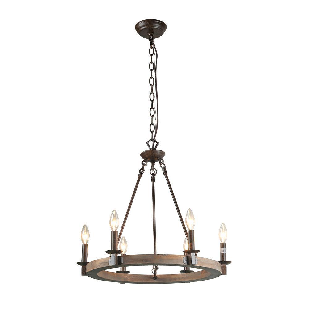 6-Light Bronze Wood Chandelier