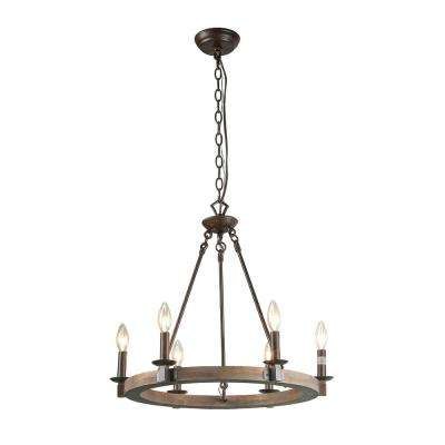 6-Light Bronze Wood Chandelier