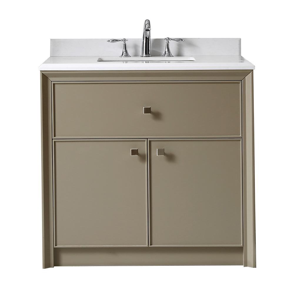 . Martha Stewart Living Parrish 36 in  W x 22 in  D Bath Vanity in Mushroom  with Marble Top in Yves White